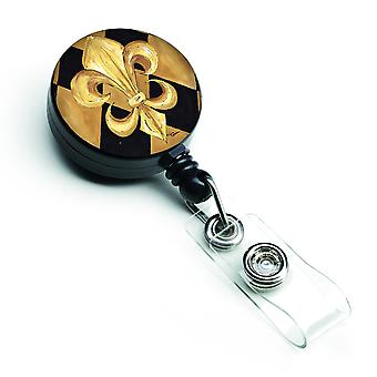 Nero e oro Fleur de lis New Orleans retrattile Badge Reel