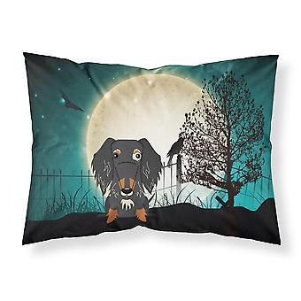Halloween Scary Wire Haired Dachshund Dapple Fabric Standard Pillowcase