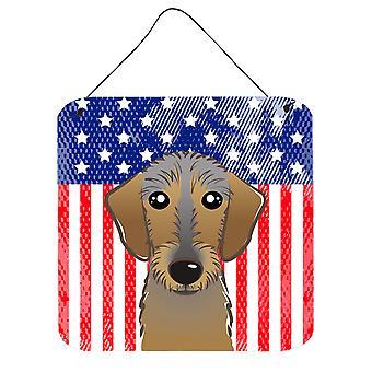 Amerykańską flagę i jamnik szorstkowłosy ściany lub drzwi wiszące drukuje