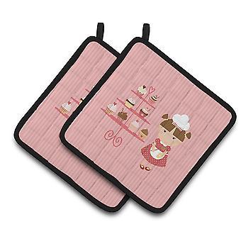 Carolines skatter BB7254PTHD Cupcake Baker brunett rosa par grytlappar