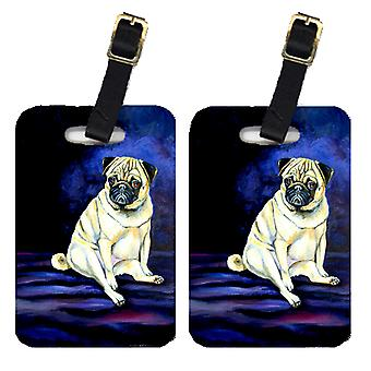 Carolines Treasures  7026BT Pair of 2 Pug Penny for your thoughts Luggage Tags