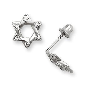 14k White Gold CZ Cubic Zirconia Gesimuleerde Diamond Medium Star Screw terug Oorbellen Maatregelen 9x8mm Sieraden Geschenken voor Wome