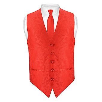 Mens Paisley SLIM FIT jurk Vest stropdas 2,5-inch hals Tie Hanky instellen