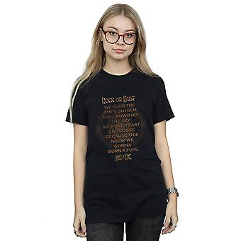 AC/DC naisten Rock tai Bust lyrics poika ystävä Fit T-paita