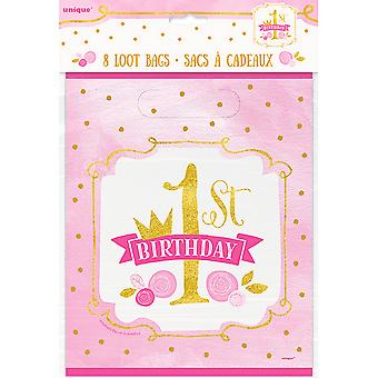 Unique Party Pink/Gold 1st Birthday Loot Bags (Pack Of 8)