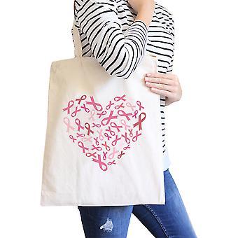 Heart Pink Ribbon Canvas Tote Natural Cute Canvas Shoulder Bag Gift