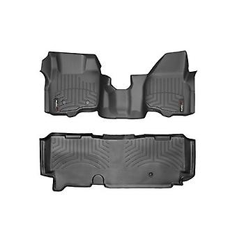 2011-2015 Ford F-250/F-350/F-450/F-550-Weathertech Floor Liners-Full Set (Includes 1st and 2nd Row-Over The Hump)-Fits S