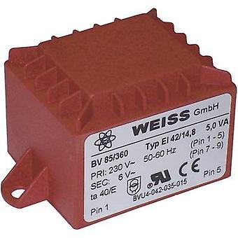 Weiss Elektrotechnik 85/365 PCB mount transformer 1 x 230 V 1 x 24 V AC 5 VA 208 mA