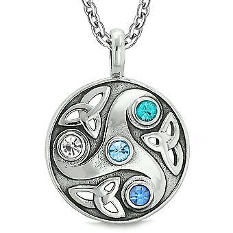 Déesse Triquetra Celtic Knot protéger amulette cercle pendentif cristal blanc bleu Royal