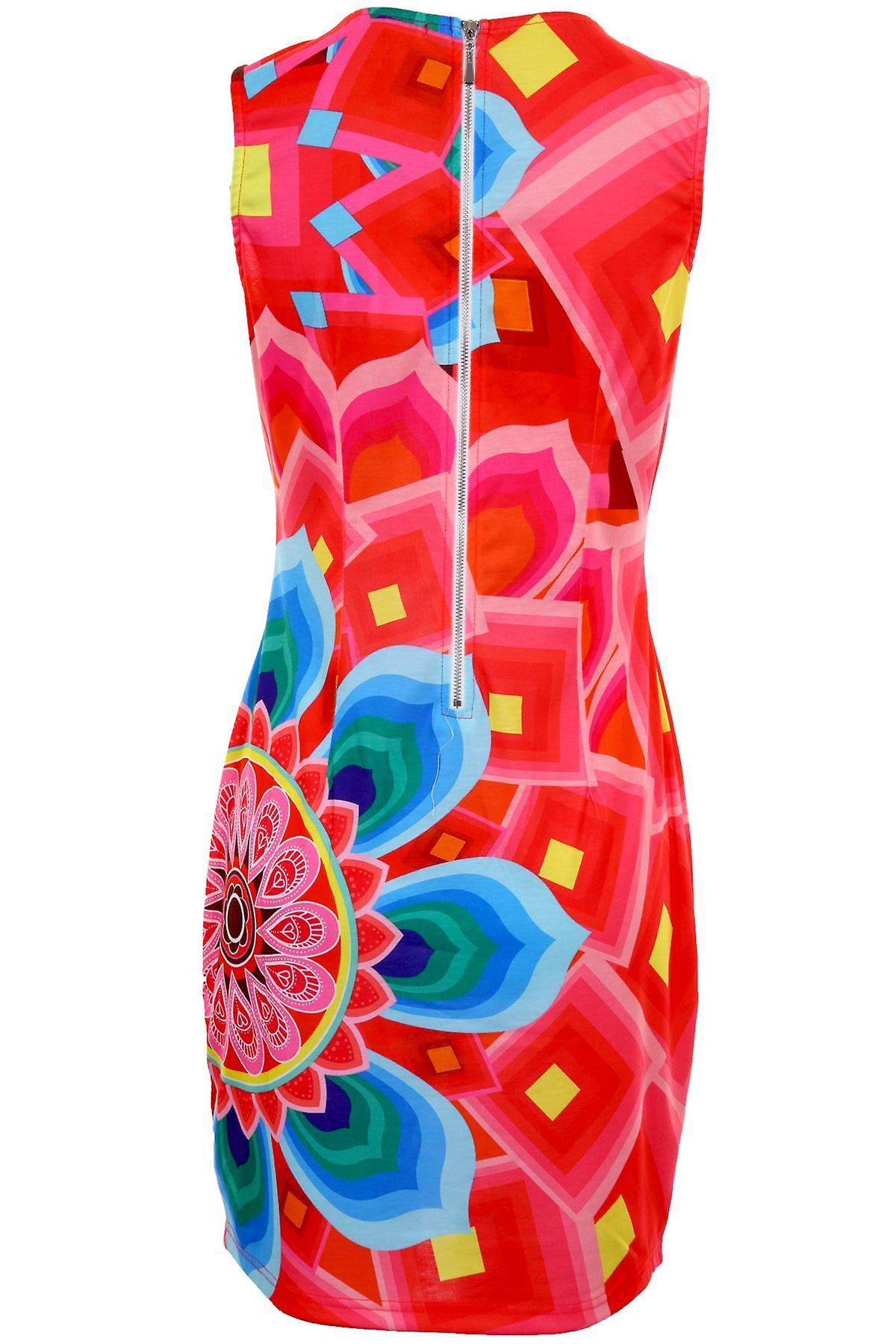 Hyvät Multi väri paneeli tulosta kuviollinen Zip takaisin naisten Stretch Bodycon mekko