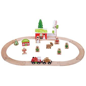 Bigjigs Rail Wooden Winter Wonderland Christmas Train Set Seasonal Xmas