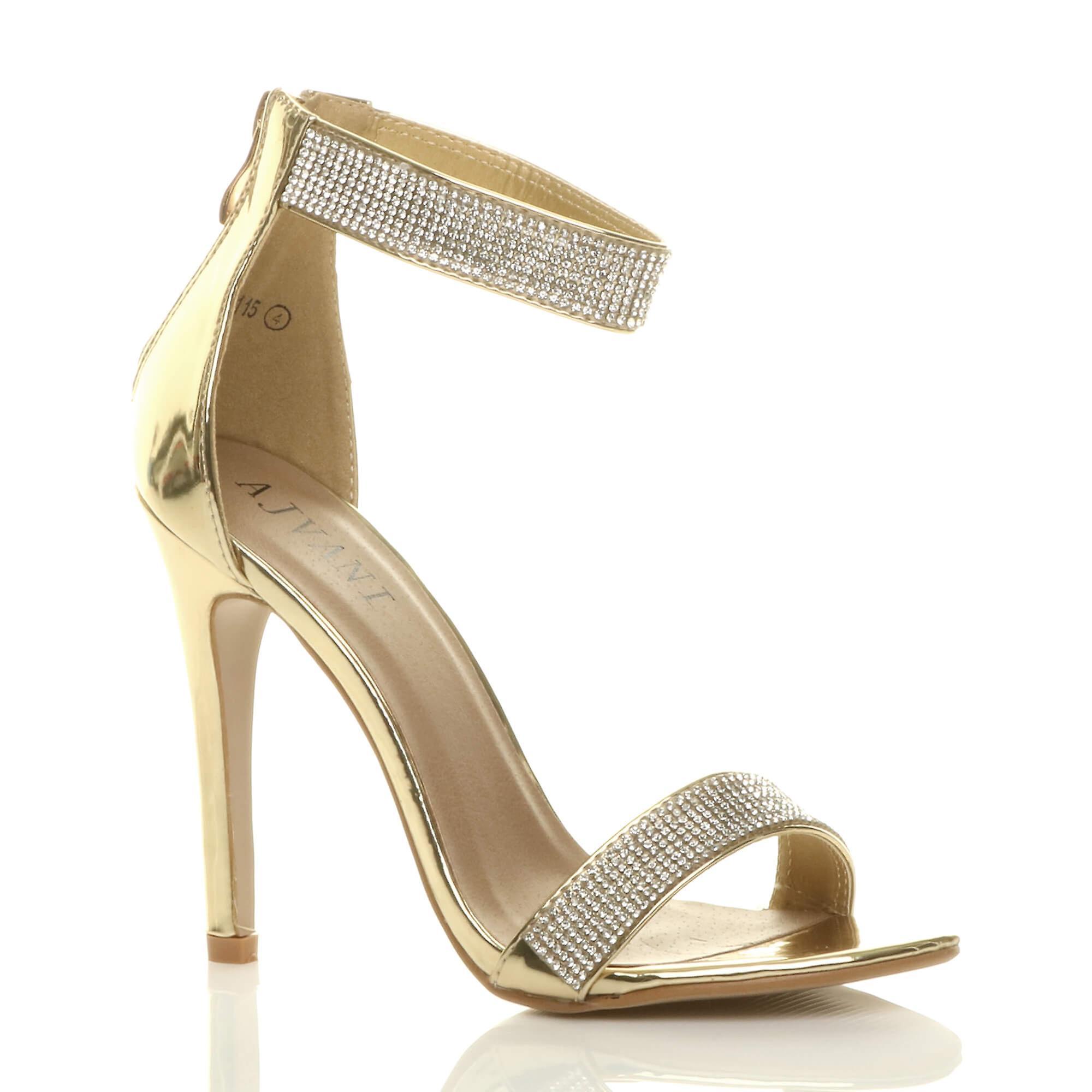 Ajvani damskie szpilki strappy diamante ledwo tam sandały wieczorowe buty B3q0T