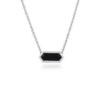Gemondo 925 Sterling Silver 2.00ct Black Onyx Hexagonal Prism Necklace 45cm