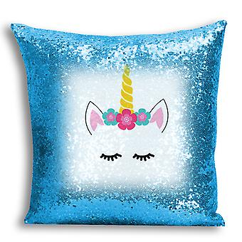 i-Tronixs - Unicorn Printed Design Blue Sequin Cushion / Pillow Cover for Home Decor - 0