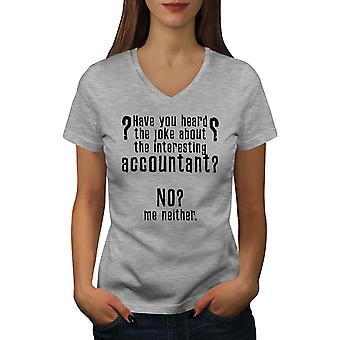 Interesting Accountant Women GreyV-Neck T-shirt | Wellcoda