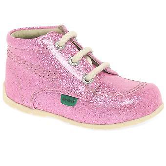 Kickers Hi Baby Pink Glitter Girls First Boots