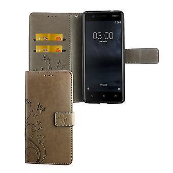 Mobiltelefon bostäder för Nokia 3.1 / Nokia 3 2018 Pocket plånbok skydd täcker fallet grå