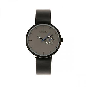 Simplificar el 3900 banda de cuero reloj con fecha - negro