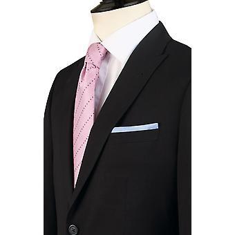 Dobell Mens zwart pak jasje Slim Fit reizen/Performance Notch revers
