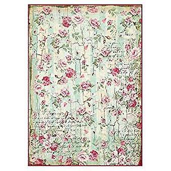 Riisipaperi A4 Pienet ruusut &; Kirjoitusten tekstuuri (DFSA4275)