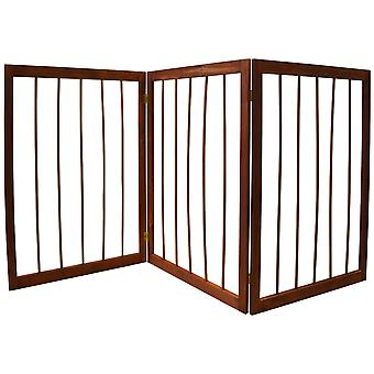 Cherish-3 secțiunea lemn masiv pliere Pet Gate-Brown
