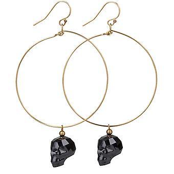 14kt Gold Filled Hoop Earrings with�Black Swarovski Skull