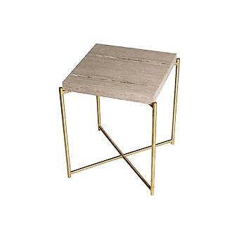 Gillmore Space Weathered Oak Square Side Table con base in ottone cross