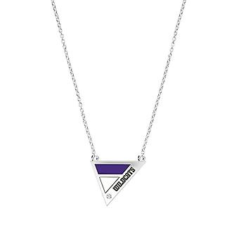Northwestern University Engraved Sterling Silver Diamond Geometric Necklace In Purple & White
