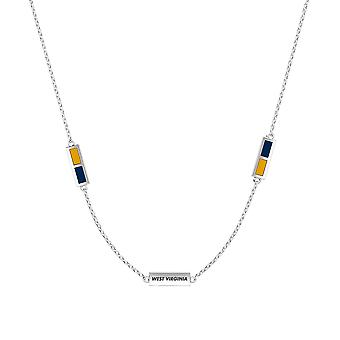 West Virginia University Sterling Silver Engraved Triple Station Necklace In Yellow & Blue