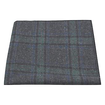 Mørkegrå & grøn check lommeklud, Tweed, Tartan, plaid