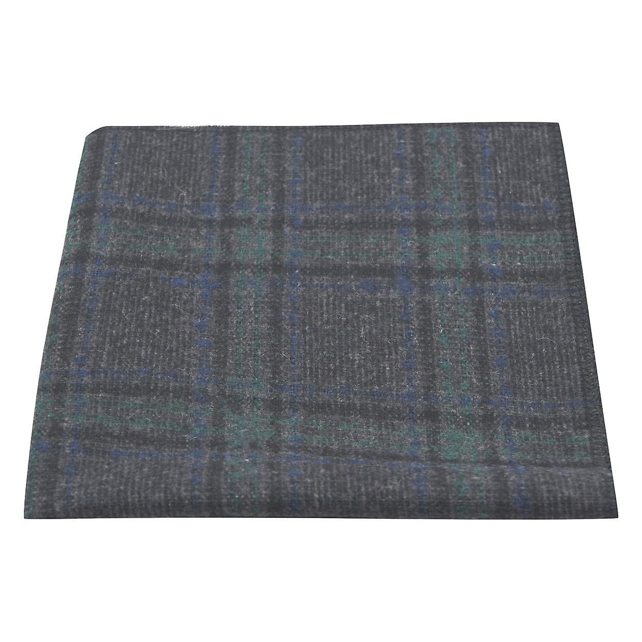 Dark Grey & Green Check Pocket Square, Tweed, Tartan, Plaid