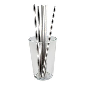 6x rechte metalen stro-zilver