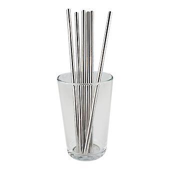 6x straight metal Straw-Silver