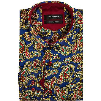 Oscar Banks Satin Paisley Print Satin Mens Shirt