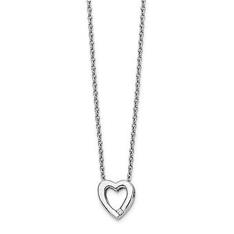 Polished Gift Boxed Rhodium plated Lobster Claw Closure White Ice .02ct Diamond Love Heart Necklace 18 Inch Jewelry Gift