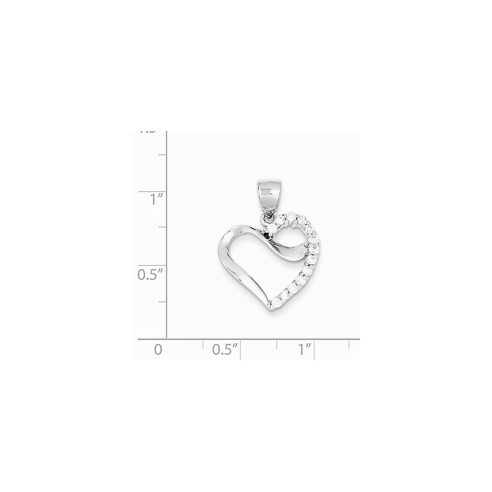 925 Sterling Silver Solid Polished CZ Cubic Zirconia Simulated Diamond Love Heart Pendant Necklace Jewelry Gifts for Wom