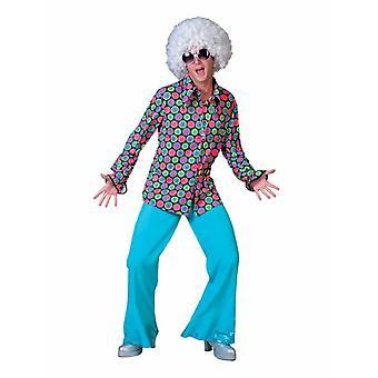 70s IES polka dot disco camisa dos homens traje hit partido Mens traje