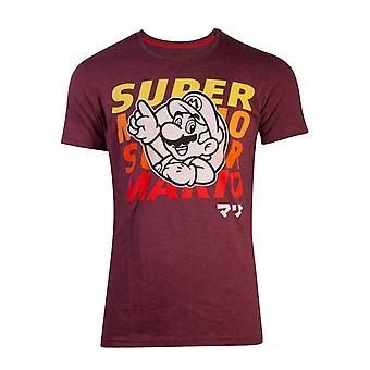 Super Mario T Shirt Space Dye Mario nouvel officiel Mens Red slim fit
