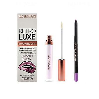 Makeup Revolution Rétro Luxe Holographic Lip Kit-Unicorn Rêve