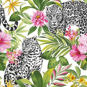 Tropica Leopard Wallpaper Multi Fine Decor FD42471