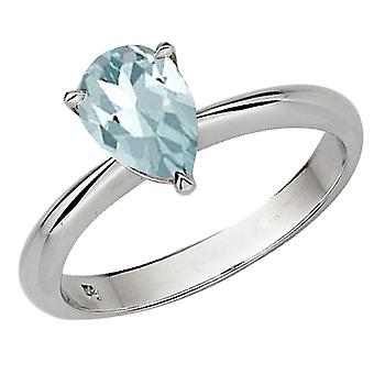 Dazzlingrock Collection Sterling Silver 9X7 MM Pear Cut Aquamarine Solitaire Bridal Engagement Ring