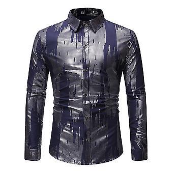 Allthemen Men's Colorblocked Lapel Four Seasons Casual Camicia a maniche lunghe