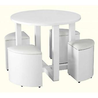 Charisma Stowaway dining Set - Bianco Gloss/bianco Pu