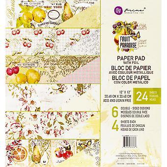 Prima Marketing Double-Sided Paper Pad 12-quot;X12-quot; 24/Pkg-Fruit Paradise, 6 Foiled Designs/4 Chacun