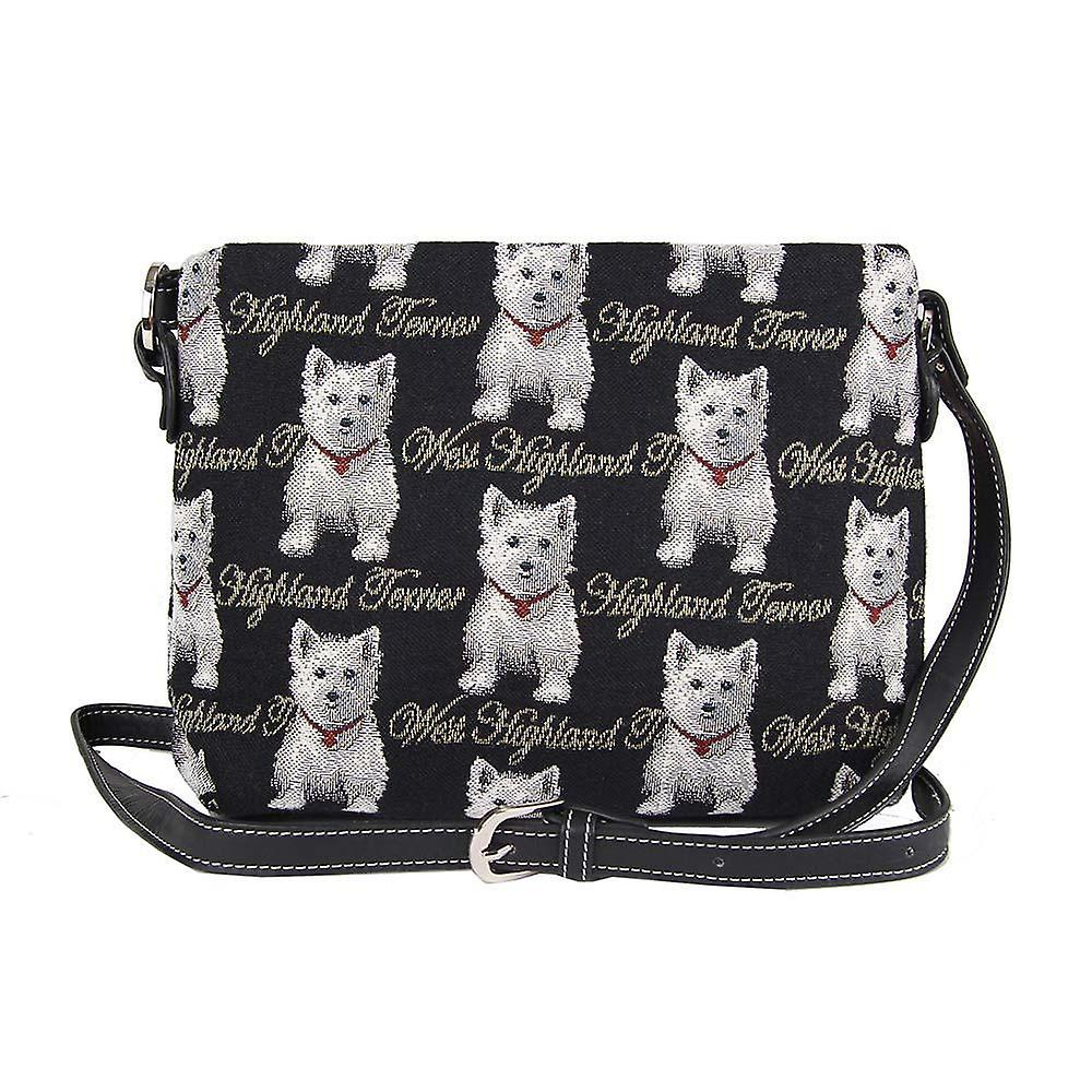 Westie cross body shoulder bag by signare tapestry / xb02-wes