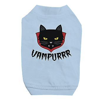 Vampurrr Funny Halloween Graphic Design Sky Blue Pet Shirt for Small Dogs