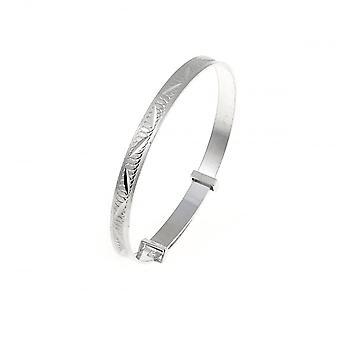 Eeuwigheid Sterling Silver Diamond Cut uitbreiding Kids Bangle