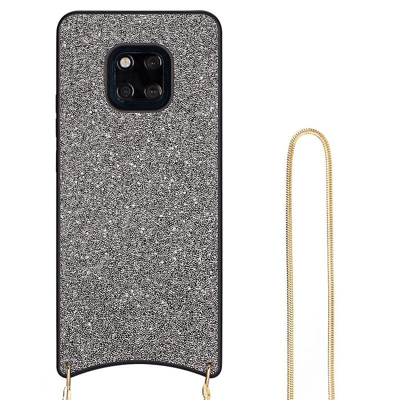 CaseGate phone chain for Huawei Mate 20 Pro phone chain case cover - Necklace case with silver design