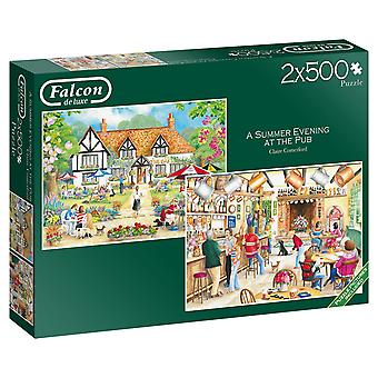 Falcon Deluxe Summer Evening at the Pub Jigsaw Puzzles (2 x500 pieces)