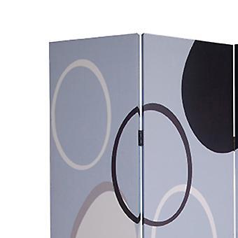 3 divizor cameră panou cu cercuri suprapuse model, negru și gri